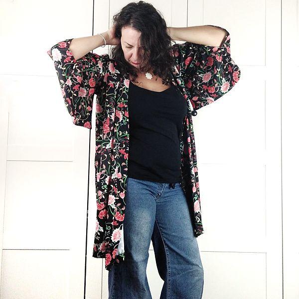 como coser un kimono de talla grande