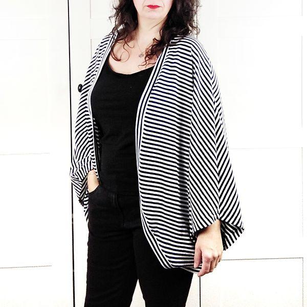 patrón de chaqueta redonda para mujer de talla grande